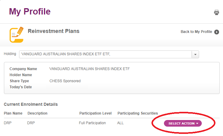 Select Amend to change your dividend reinvestment plan
