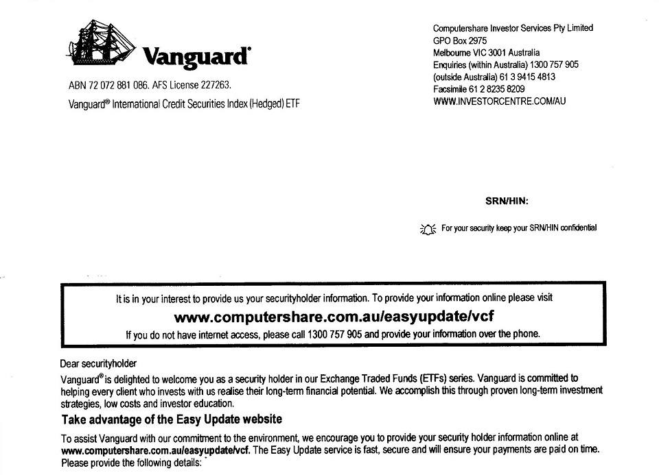 The welcome letter with the Vanguard Dividend Reinvestment instructions that is mailed to you